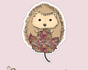 HEDGEHOG AND LEAF | Die Cut | Fall | Woodland | Erin Condren | Tn | D55