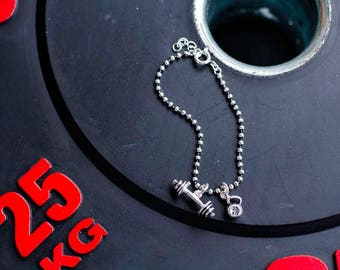 Silver ball bracelet with pendants (see detail)