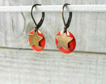 Earring bronze sequin bright red enamel and Star