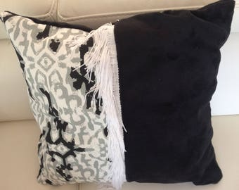 pillows with black and white cotton fabric and minky