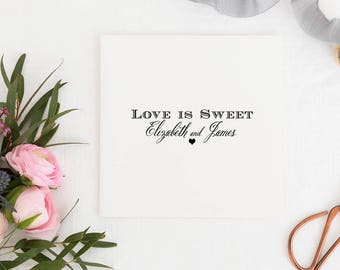 Love is Sweet Stamp, Wedding Favor, Thank You Stamp, Wedding Favor Stamp, Love is Sweet Rubber Stamp, Candy Buffet Bar Stamp  No.104
