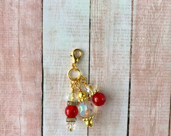 Planner Charm, gold Charm, Gold Planner Charms, Planner accessories ,tn, tn accessories, tn charm, travelers notebook, red charms