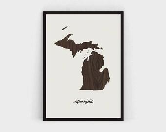 Michigan State Print Map, Wood Michigan Map Wall Art Printable, Large Michigan Print Poster, Rustic Map Downloadable, Walnut, United States