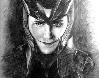 Loki, Print, Pencil Drawing
