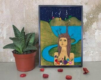Girl of the wood - Illustration / Print