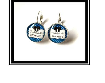 "Earrings original and funny,""Miss dreamer""bow, blue, polka dots, polka dots, funny, MOM"
