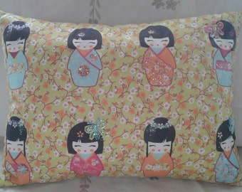 Green Japanese Doll Cushion