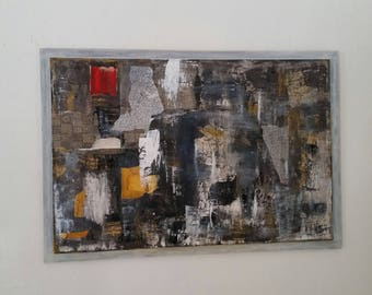 """abstract large format """"Mosaic"""" painted in acrylic on thin wooden l"""
