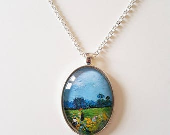 Van Gogh 'Green vineyard - Dammes' detail, 30x40mm oval pendant in silver or antique bronze, includes complimentary chain