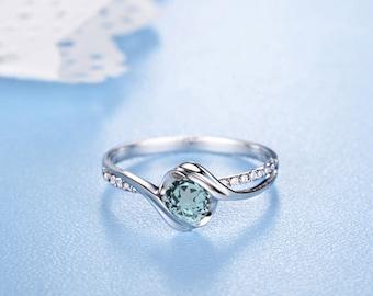 Round Aquamarine Engagement Ring 14k White Gold Twisted Blue Aquamarine March Birthstone Proposal Ring Anniversary Ring