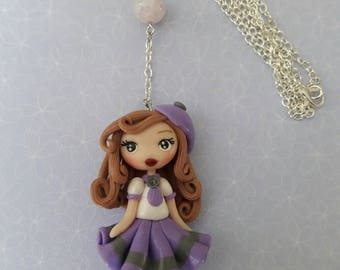 Girl doll schoolgirl Fimo polymer clay necklace, handmade.