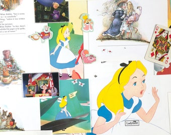 Alice in Wonderland scrapbook pack lucky inc Disney. 25 sheets vintage scrap paper ephemera for album, junk journal, smash book, collage
