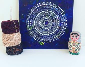 Blue Circle Mandala Acrylic Painting Original Canvas Boho, Hippie White Mandala Illustrations - Wedding, Anniversary Gift