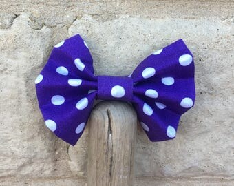 Purple and white Polkadot dog and cat bow tie