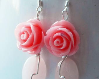 FREE UK SHIPPING - Pink Acrylic Roses and Pink Jade Earrings with 925 sterling silver wire- handmade, vintage, elegant, astrological, love
