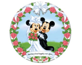 Just Married Minnie and Mickey Button - Disney Marriage Button - Bride and Groom Button - Disney Park Button - Disney Badge - Theme Park Pin