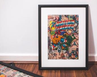 Framed Marvel Superhero 1980 Captain America comic book collage, bedroom, man cave, office, custom art, Birthday gift, free shipping to UK