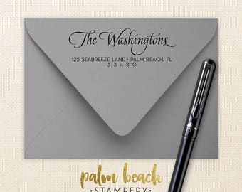 Washington Pre-Inked Return Address Stamp - Self Inking Address Stamp - Personalized Calligraphy Address Stamp - Stamp for Wedding Envelopes
