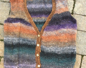 Hand knitted Noro yarn Vest
