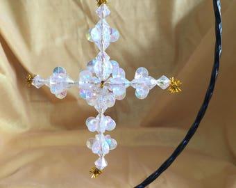 Crystal Plastic Beaded Cross