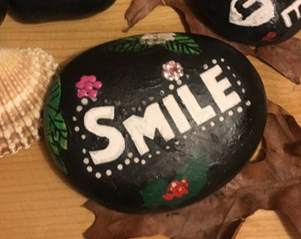 Smile - Hand Painted Stone, hand painted pebble, painted rock, paperweight, Spiritual, affirmation, home decor