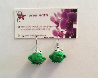 earring type polymer clay frog