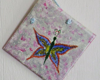 Tile with tempera painted Butterfly