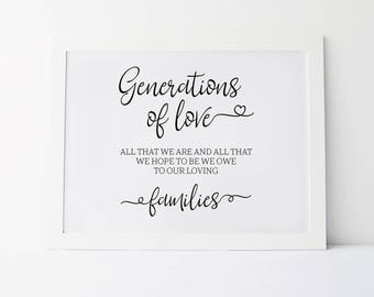 Generations Of Love, Wedding Signs, Generations Of Love Sign, Wedding Quotes, Ceremony Sign, Wedding Quote Sign, Wedding Print, Wedding Art