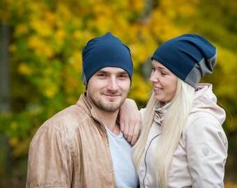 Navy blue/dark gray unisex beanie hats Set of 2 hats Matching couple beanie hats Adult scull hat Men slouchy beanie hat Women jersey beanie
