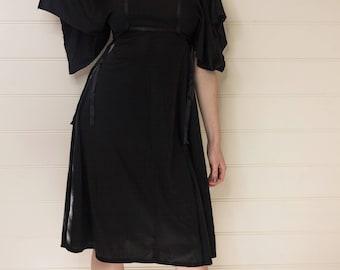 Vintage 70s black dress, Batwinged  sleeved dress, Batwinged sleeves, Summer dress, Vintage dress, Short sleeved dress, Womens dress, Black