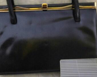 Vintage 1950's Ackery Black Leather Handbag