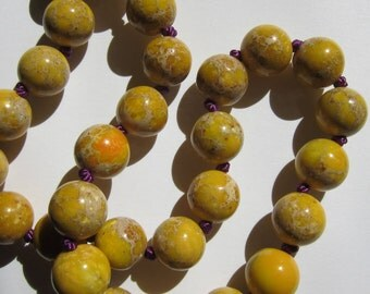 Yellow Sea Sediment Jasper Necklace - Genuine Jasper & Pure Silk Thread