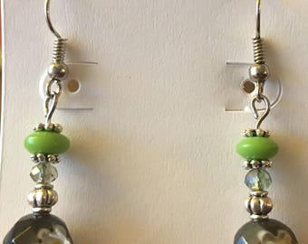 Lime green and black earrings