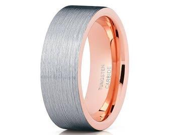Tungsten Wedding Band Brush Rose Gold Tungsten Ring Tungsten Carbide Ring Anniversary Band Men & Women Comfort Fit