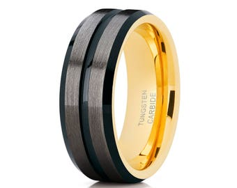 Tungsten Wedding Band Black Tungsten Ring Tungsten Carbide Ring Anniversary Band Men & Women Gunmetal Wedding Band