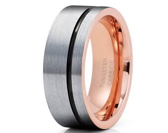 Grey Tungsten Wedding Band Rose Gold Tungsten Ring Men & Women Tungsten Carbide Ring Anniversary Ring Black Tungsten