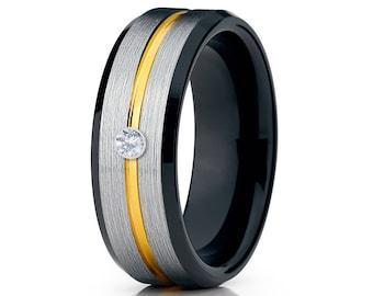 Yellow Gold Tungsten Wedding Band Black Tungsten Ring Men &  Women Tungsten Carbide Ring Anniversary Band White Diamond Ring