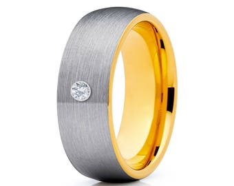 Yellow Gold Tungsten Wedding Band White Diamond Tungsten Ring Men & Women Tungsten Carbide Ring Anniversary Ring Comfort Fit