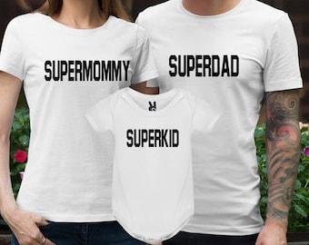 Super mom Shirt Super dad Shirt Super kid Shirts Supermom Shirt Superdad Shirt Superkid Shirts Top Tshirt Tee Shirt Clothing Clothes