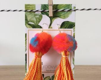 rainbow pom-pom tassel earrings