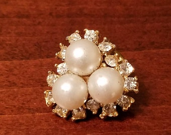 Vintage Faux Pearl and Rhinestone Lapel Pin