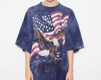 90s Clothing, 90s Vintage, USA, Eagle, American Flag, Patriotic, American Eagle, Independence Day, Tie Dye, Hippie, United States, X-Large