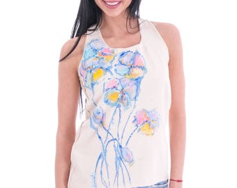 Cotton ecru vest for women with hand painted blue and orange flowers