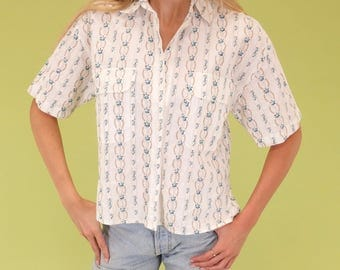 Lovely bright white vintage western style button up SIZE S-M