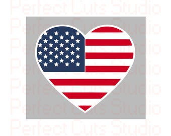 American Heart Flag SVG & Studio 3 Cut File Cutouts Files Logo Stencil for Silhouette Cricut I Love SVGS Stencils Decals United States SVGs