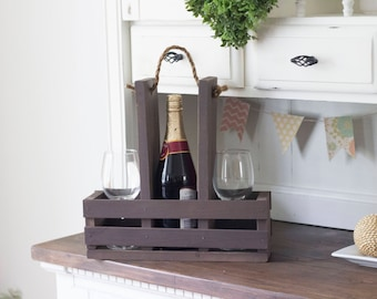 Wine Caddy | Rustic Wine Carrier | Wine Glass Holder | Wood Wine Caddy | Wine Tote | Wine Holder | Wooden Wine Caddy | Handmade