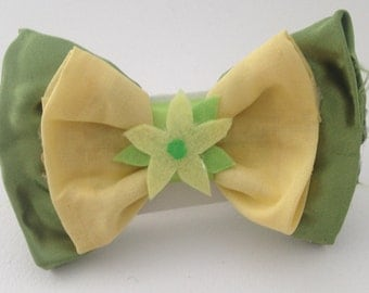 Princess Tiana Inspired Hair Bow, Fabric Hair Bows, Bows for Girls and Women, Cosplay and Costume Accessories