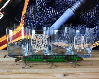 Set of 4 Fishing Themed Whiskey Glasses, Gifts for Men, Fishing Gift , Best Gifts for Men, Whiskey Glasses, Gift for Outdoorsman