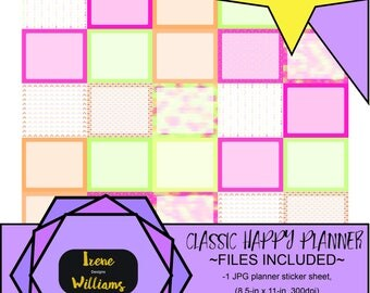 Arrows and Mosaic designs for your Classic Happy Planner; Half Box Stickers; Pink Yellow Green Orange