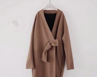 Obi tie cocoon coat